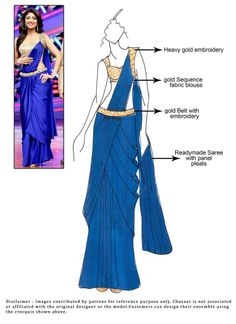Shilpa Shetty Blue Ready Stitched Saree