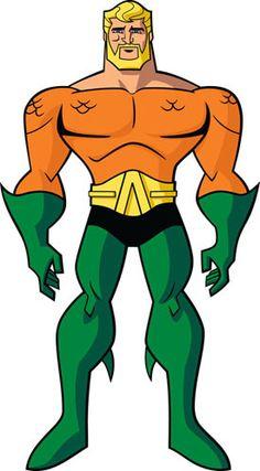"""Aquaman (Arthur Curry): Assim como Batman, Aquaman é um """"membro"""" ocasional da Liga da Justiça, nomeadamente quando o oceano está envolvido. É o rei de Atlantis e se porta como tal, sendo muitas vezes rude e ríspido com seus colegas da Liga. Sacrificou uma das mãos para poder salvar seu filho, substituindo-a por um arpão retrátil."""