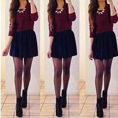 Adorable going out in winter outfit!!...Skirt a little longer for me...but cute..