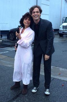 """""""Excited to be directing the immensely talented and overwhelmingly beautiful adrienne barbeau."""" (MGG looks so handsome here)"""