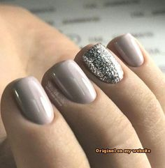 Beautiful manicure with a purple-based mauve-gray color, and a sparkly silver ac… – Your Nails – Ombre Nails – Accent Nails Mauve Nails, Glitter Gel Nails, Gray Nails, Acrylic Nails, Grey Nail Designs, Best Nail Art Designs, Short Nail Designs, Manicure Rose, Manicure And Pedicure