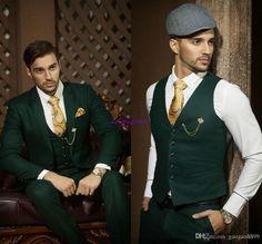 2017 new color Hot Recommend Dark hunter Green Groom Tuxedos Notch Lapel Men Blazer Prom Suit Business Suit (Jacket+Pants+Vest+Tie+Kerchief)