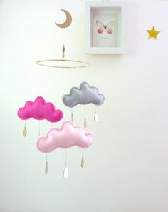 Pink cloud mobile for nursery.