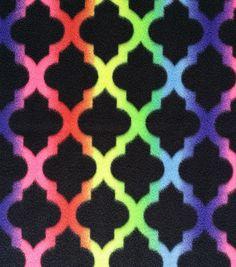 Anti-Pill Fleece Neon Ombre Moroccan Tile