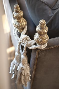 I love to use tassels everywhere. These ones highlight the perpendicular placements of two sofas.