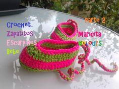 """Crochet Tutorial Zapatitos Bebe """"Pink"""" (Parte 2) - Baby Shoes - Häkeln S..."""