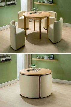 home decor for small spaces Small Space Living: 25 Design Tricks To Enhance Small Homes Space Saving Furniture, Furniture For Small Spaces, Cool Furniture, Modern Furniture, Furniture Design, Compact Furniture, Folding Furniture, Furniture Ideas, Interior Design Ideas For Small Spaces