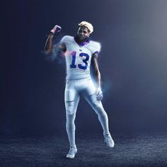 The Philadelphia Eagles And New York Giants Unveil Latest 'Color Rush' Uniforms On Thursday Night Football A look what New York Giants Wide Receiver Odell Beckham Jr. will look like tonight in the latest edition of the NFL Color Rush (Courtesy of Nike) Football Poses, Nfl Football Players, Giants Football, Sport Football, Beckham Football, Odell Beckham Jr Nike, Raiders Football, New York Football, New York Giants