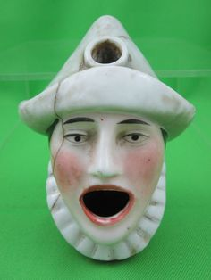 Antique Porcelain Pierrot Head Ink Well Quill Holder
