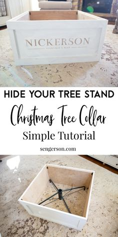 christmas time This simple tutorial will show you how to make a Christmas Tree collar to hide the ugly metal pole from your artificial Christmas tree. This is a faux Christmas tree stand crate that you can use to hide your artificial Christmas tree stand! Artificial Christmas Tree Stand, Christmas Tree Boxes, Tree Collar Christmas, Country Christmas Trees, Farmhouse Christmas Decor, Diy Christmas Eve Box, Christmas Tree Stand Cover, Artificial Tree Stand, Farmhouse Christmas Tree Skirts