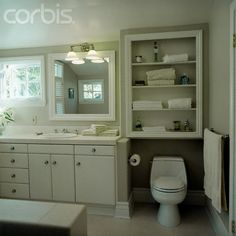 Built-In Shelving Over Toilet - 42-16727147 - Rights Managed - Stock Photo - Corbis
