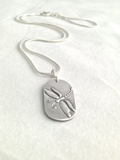 Fine Silver Necklace  Small Pendant  Dragonfly by WyomingHammered
