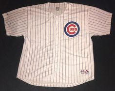 Majestic Men's Chicago Cubs Blank White Pinstripe Jersey 4X  | eBay