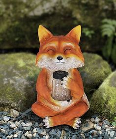 This Fox Firefly Jar Solar Light Up Statue Is Perfect! #zulilyfinds
