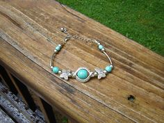 Turquoise and tibetian silver butterfly bracelet Stk# 402