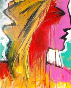 "She's On Fire by Jessica Torrant - Abstract portrait painting woman, acrylic and oil pastel on 16"" x 20"" canvas."