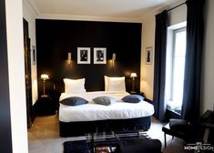 Decorative visit: Mansion Montmartre - Atelier Germain - Poems and Hats Suite – Hôtel Particulier Montmartre - Modern Bedroom Design, Master Bedroom Design, Home Decor Bedroom, Bedroom Designs, Bedroom Bed, Bedroom Apartment, Black Rooms, Minimalist Bedroom, My Room