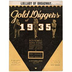 Vintage Lullaby of Broadway Sheet Music from Gold Diggers of 1935 Movie Al Dubin