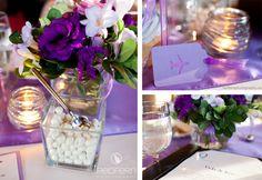 Purple wedding reception decor.