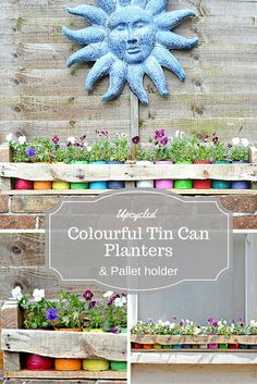 This colourful tin can planter is so easy to make and costs almost nothing.  The pallet holder really adds to the rustic nature of this project and is so easy.
