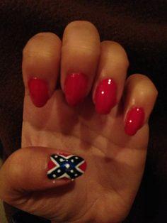 Rebel flag nails-redneck chic design