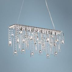 Elliana Wide Clear Crystal Island Chandelier - too bad. Think I'd need rectangle table for this. Dynamic Design, Rectangle Table, European Furniture, Bar Areas, Pool Table, Chrome Finish, Clear Crystal, Light Fixtures, Decorating Ideas