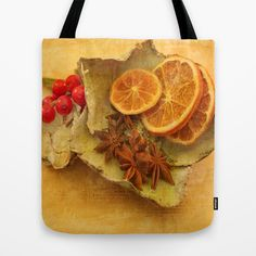 """Orange Christmas Kitchen decor  Tote Bag by gunadesign - $22.00  it is hand sewn in America using durable, yet lightweight, poly poplin fabric. All seams and stress points are double stitched for durability. They are washable, feature original artwork on both sides and a sturdy 1"""" wide cotton webbing strap for comfortably carrying over your shoulder."""