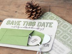 Love the pocket idea on a save the date!  Could add a magnet, or something small that goes with the wedding theme.  Pretty!