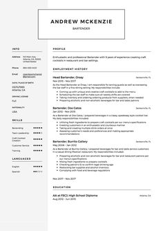 Resume Template For Bartender No Experience  HttpWww