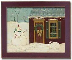 art print~SLEIGH~Warren Kimble~Santa Claus~Christmas snow winter house 12x11