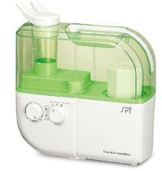 SPT-SU-4010G Dual Mist Humidifier with ION Exchange Filter(Green) by SPT. $88.21. Overheat protection.Super quiet operation. Energy efficient.Cleaning brush included.ETL Certified. Split nozzles: 360° adjustable direction.4.0L water tank capacity. Dual function: Warm and Cool mist.ION exchange filter. Ultrasonic generator.Humidity output: 400cc/hour.Designed for rooms up to 500 sq. ft.. Effectively relieve dry nose, throat lips and itchy skin with the virtually silent D...
