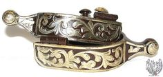 Brown Iron & Silver Floral Ball End Spurs (Mens/Womens)