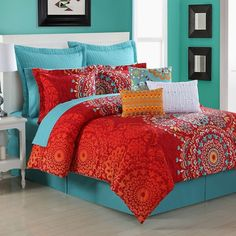 Fiesta Cozumel Comforter Set, Orange ($131) ❤ liked on Polyvore featuring home, bed & bath, bedding, comforters, orange, king pillow shams, king bedding, orange twin comforter, orange twin comforter set and orange comforter