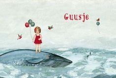 Geboortekaartje Guusje - voorkant - lief meisje op een walvis - Pimpelpluis - https://www.facebook.com/pages/Pimpelpluis/188675421305550?ref=hl (# meisje - lief - speciaal - walvis - ballonnen - zee - vogel - ballon - dieren - zeepaardje - schilderij - origineel)