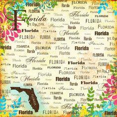 Scrapbook Customs - World Collection - USA - 12 x 12 Paper - Florida - Paradise