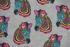 Kinderstoffe - Jerseystoff bunte Zebras - ein Designerstück von Lisetta-Design bei DaWanda