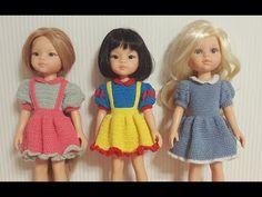5. 코바늘, 설명에 오타부분참고,파올라레이나 원피스만들기,러블리원피스 - YouTube Doll Closet, Knitted Animals, Crochet Doll Clothes, Crochet Art, Baby Dolls, Summer Dresses, Disney Princess, Knitting, Mini