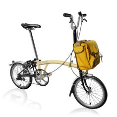 Bike Builder | Brompton Bicycle, Ivory main frame with the stunning yellow game bag
