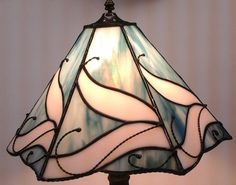 Blue and White Opalescent Stained Glass Lamp Shade by gearman1