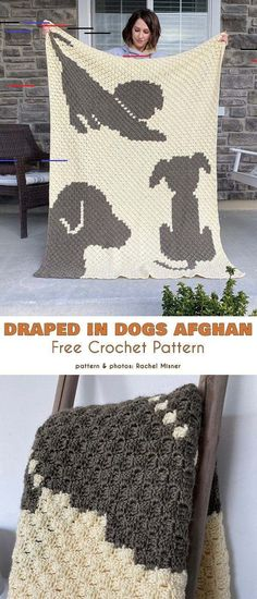 Drapped in Dogs Afghan Free Crochet Pattern Easy and quick blankets with an animal motif. # crochet blanket patterns quick Drapped in Dogs Afghan Free Crochet Pattern Easy and quick blankets with an animal motif. Crochet C2c, Crochet Gratis, Manta Crochet, Crochet Afghans, Baby Blanket Crochet, Crochet Baby, Crochet Toys, Crochet Dog Patterns, Crochet Beanie Pattern
