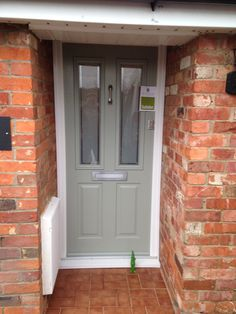 Absolutely Stunning Solidor Ludlow 2 in Painswick Green and Victorian glass fitted in Sandy by Rock Solid Doors Solidor Door, Grey Front Doors, Composite Front Door, Contemporary Front Doors, Glass Fit, House Front Door, Door Ideas, Entry Doors, Absolutely Stunning