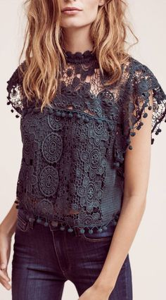 The Cropped Guerie Shell is in a stunning deep green with a pom-pom trim and gorgeous mockneck silhouette. Mode Outfits, Casual Outfits, Fashion Outfits, Womens Fashion, Fashion Trends, Boho Trends, Fashion 2020, Fashion Clothes, Casual Shirts