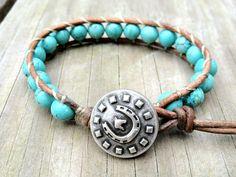Turquoise Leather Wrap Bracelet Single Wrap by DESIGNbyANCE, $22.00