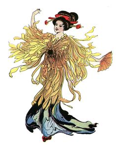 An exceptionally pretty Vintage Image of a Japanese Flower Fairy...This little Fairy is wearing a Kimono made of  bright yellow Chrysanthemum petals. How gorgeous!!  She's got her hair done in a traditional Geisha style, with more Flowers added to her hairdo.