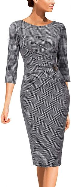 VFSHOW Womens Elegant Ruched Work Business Office Cocktail Sheath Dress - Outfits for Work Elegant Dresses, Sexy Dresses, Beautiful Dresses, Casual Dresses, Fashion Dresses, Dresses For Work, Summer Dresses, Formal Dresses, Wedding Dresses
