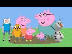 Peppa pig familia Disney Olaf Frozen Finn e Jake Hora de Aventura Desenh...