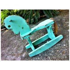 Baby boy rocking horse mint green blue painted furniture nursery distressed toy art