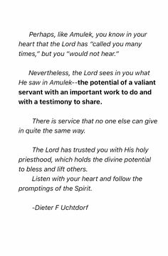 Dieter F Uchtdorf October 2016 general conference. Learn From Alma and Amulek.