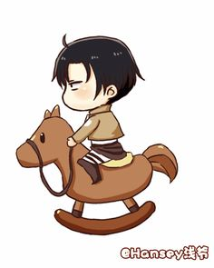 "Attack on Titan ~~ Having a rough day? Well, here is a ""Heichou on a Hobbyhorse"" to make you feel better."
