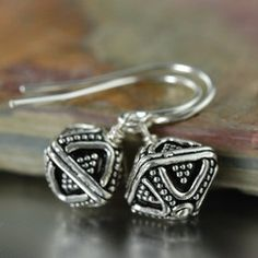 Diamond shaped sterling silver bali earrings full-time-etsy-crafters
